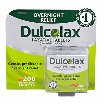 Dulcolax Overnight Relief Laxative Tablets, 200 Count