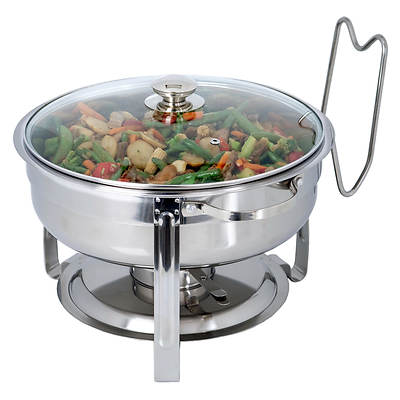 Artisan Metal Works 4-Quart Round Stainless Steel Chafing Dish with Cover