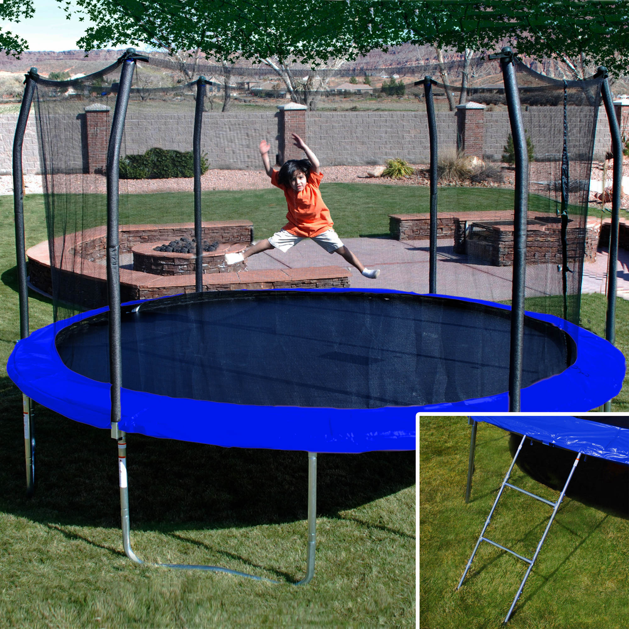 17 X 15 Oval Trampoline With Safety Enclosure: Skywalker Trampolines 17' X 15' Oval Trampoline With Bonus