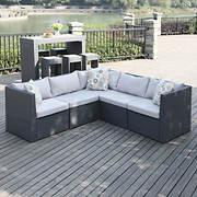 Handy Living Azura Rattan Indoor/Outdoor Sectional - Gray/Gray