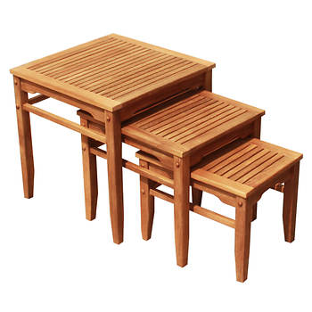 Crestwood Garden Collection 3-Pc. Teak Nesting Table Set
