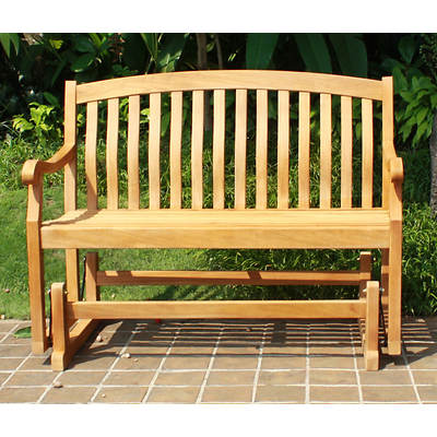 Crestwood Garden Collection 4' Teak Glider Bench