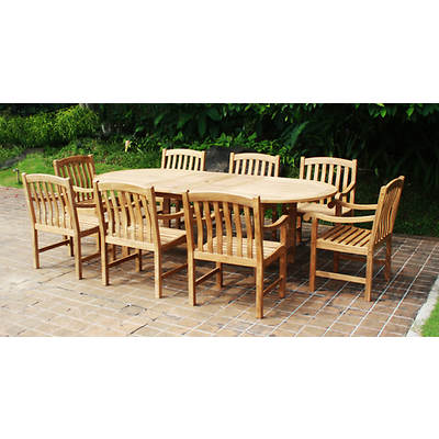 Crestwood Garden Collection 9-Piece Teak Dining Set