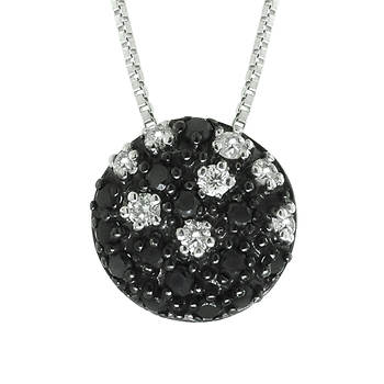 .30 ct. t.w. Black and White Diamond Bead Pendant in Sterling Silver