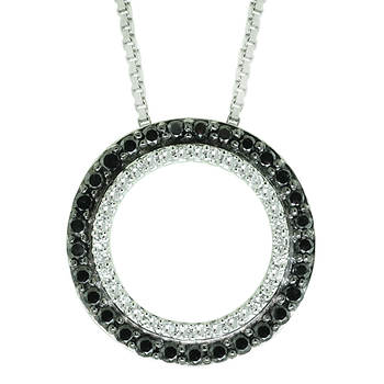.75 ct. t.w. Black and White Diamond Circle Pendant in Sterling Silver