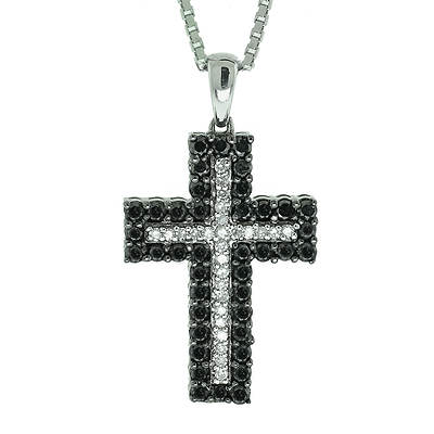 1.00 ct. t.w. Black and White Diamond Cross Pendant in Sterling Silver