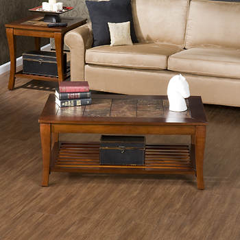 SEI Natalia Faux Slate Coffee Table - Brown Cherry