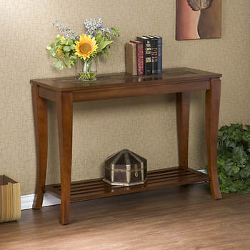 SEI Natalia Faux Slate Sofa Table - Brown Cherry