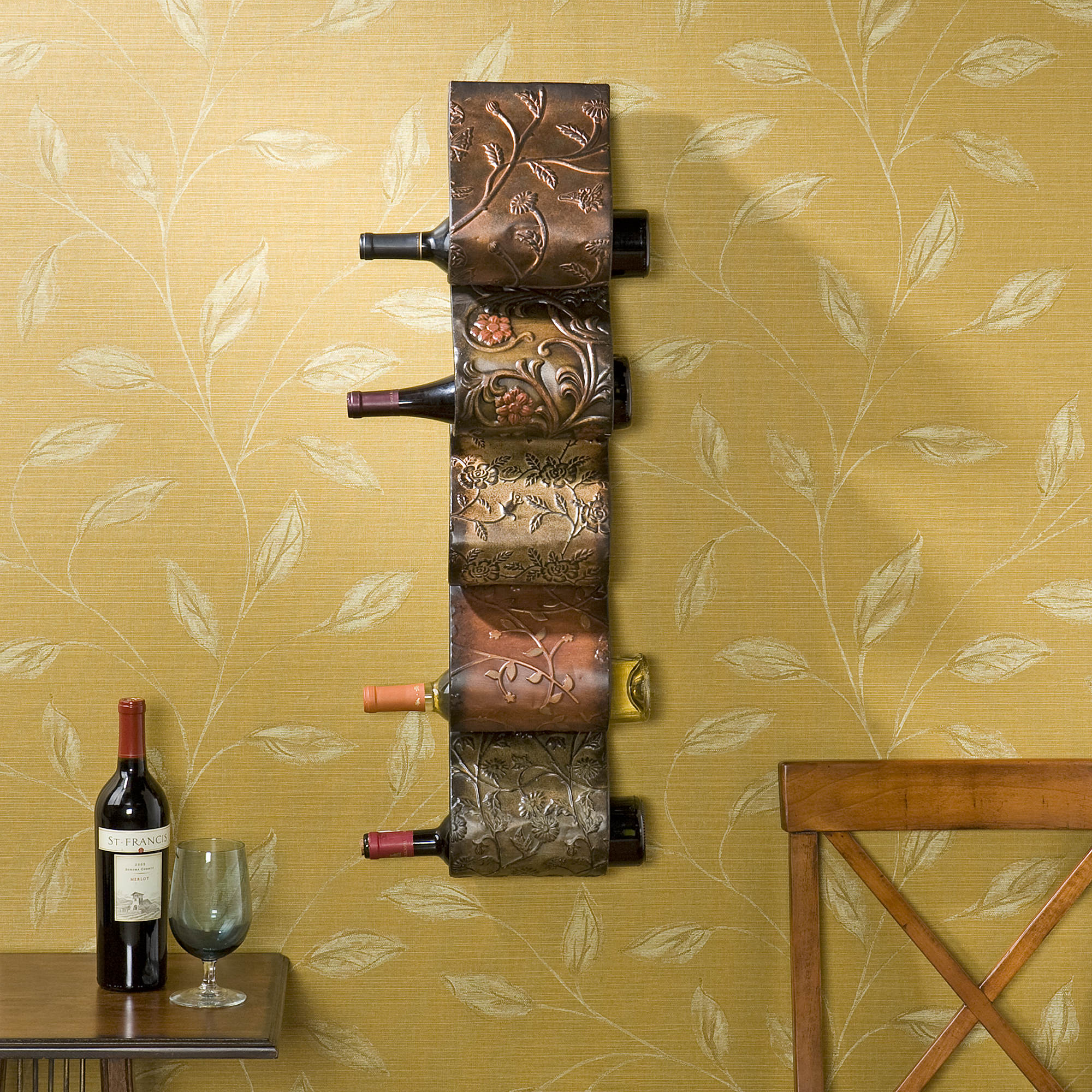 SEI Artistic 5-Bottle Wave Wall-Mount Wine Rack - Brown - BJs ...