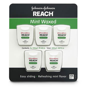 Johnson & Johnson Reach Mint Waxed Dental Floss, 100 Yards, 5 pk.