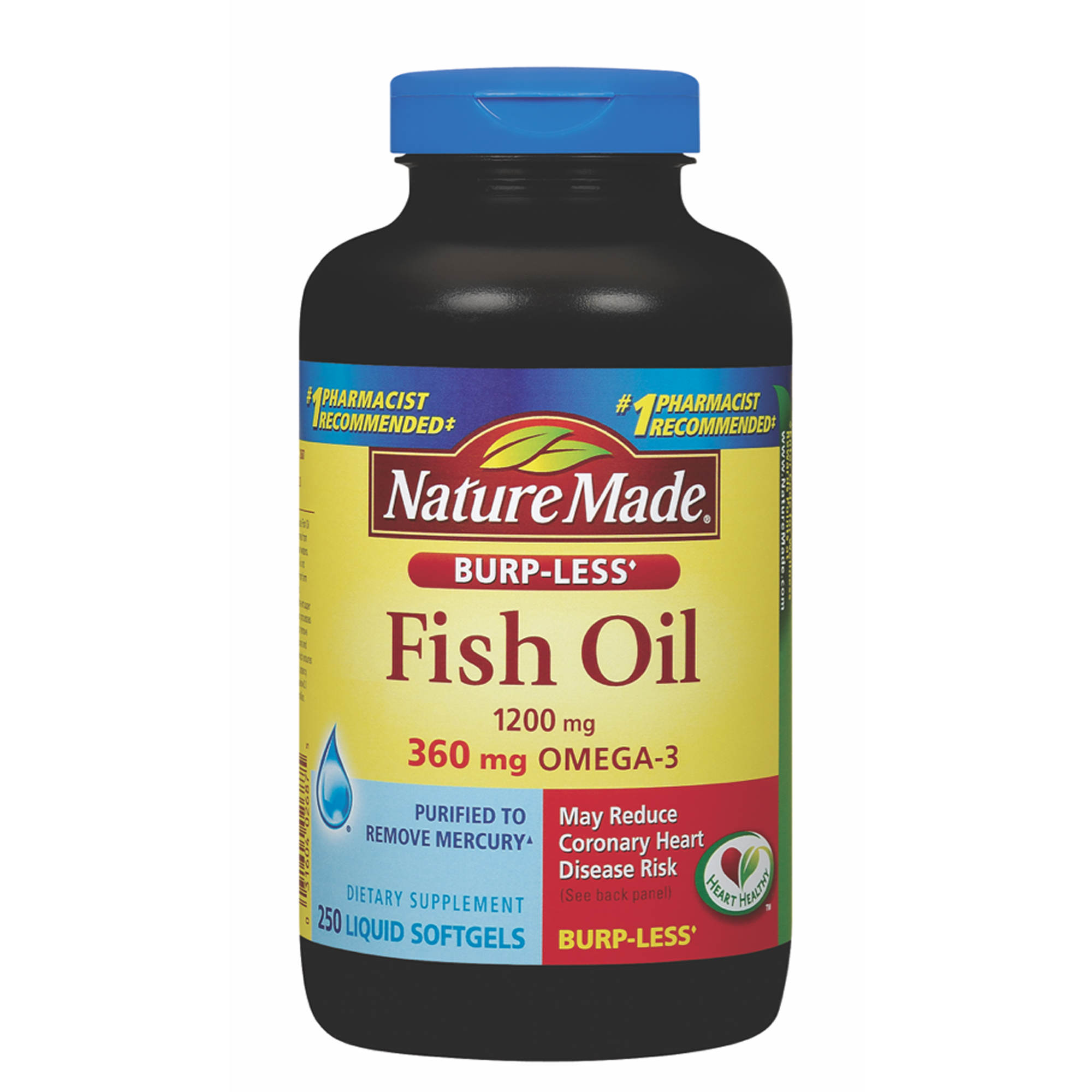 Nature made 1 200mg odorless fish oil softgels with 360mg for Nature s bounty fish oil review