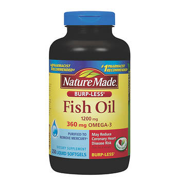 Nature Made 1,200mg Odorless Fish Oil Softgels with 360mg Omega-3, 250 Count