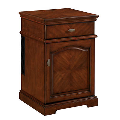Twin-Star Tresanti End Table with Compact Refrigerator - Rose Cherry