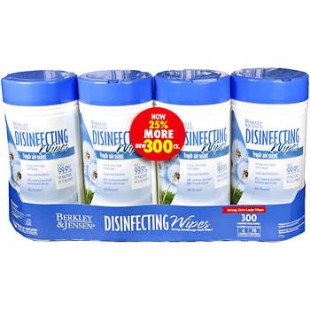 Berkley Jensen Disinfecting Wipes, 300 Count, 4-Pk