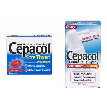 Cepacol Sore Throat Pain Relief Lozenges, 18 ct., and Cherry Dual Relief Spray, 0.75 Fl. oz.