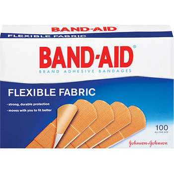 BAND-AID Adhesive Bandages Flexible Fabric, 100 per Box