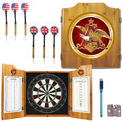 Anheuser-Busch Pine-Wood Cabinet Dartboard with 2 Dart Sets