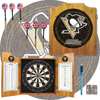 Pittsburgh Penguins Pine-Wood Cabinet Dartboard with 2 Dart Sets