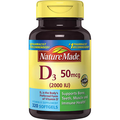 Nature Made Vitamin D3 2,000 IU LSG, 320 Count