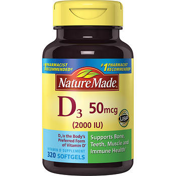 Nature Made Vitamin D3 2,000 IU LSG, 320 ct.