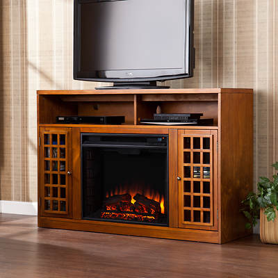 SEI Morita Media Console Electric Fireplace - Pine