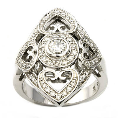 .60 ct. t.w. Diamond Heart Ring in 14K White Gold