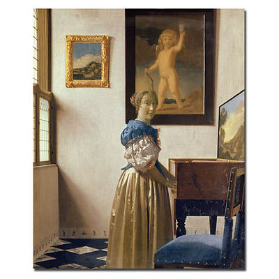 "A Lady Standing at a Virginal, c. 1672-1673 by Jan Vermeer Gallery-Wrapped Giclee Print, 26"" x 32"""