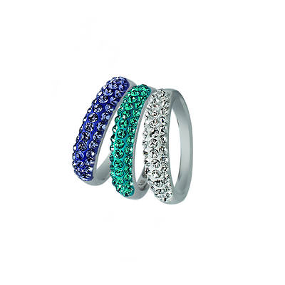 Lauren Taylor 2.75 ct. t.w. Purple, Blue and White Swarovski Crystal Elements 3 Stack Rings in Sterling Silver