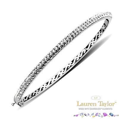 Lauren Taylor 1.75 ct. t.w. White Swarovski Crystal Elements Bangle Bracelet in Sterling Silver