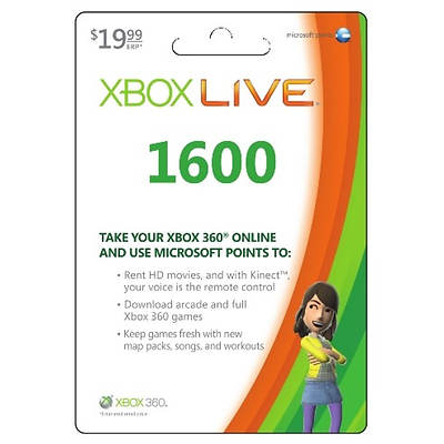 MS Xbox LIVE 1,600 Microsoft Points Gift Card, $19.99