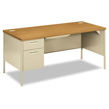 HON Metro Classic Left Pedestal Workstation Desk - Harvest/Putty