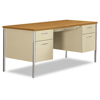 HON 34000 Series Double Pedestal Desk - Harvest/Putty