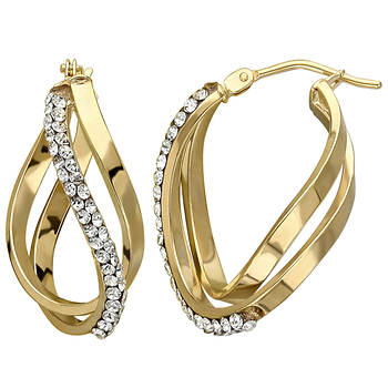 1.40 ct. t.w. Swarovski Crystal Double Twist Hoop Earrings in 14k Yellow Gold