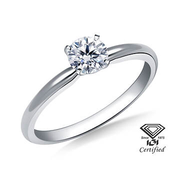 .25 Carat Certified Round Diamond Solitaire Ring in 14K White Gold