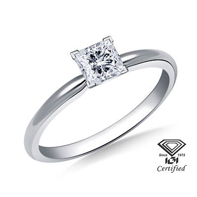 .25 Carat Certified Princess-Cut Diamond Solitaire Ring in 14K White Gold (H-I, SI1-SI2)