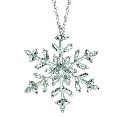 Round and Baguette Diamond Accent Snowflake Necklace in 14K White Gold