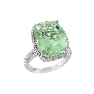 6.80 Carat Mint-Green Quartz and .40 ct. t.w. Diamond Ring in Sterling Silver