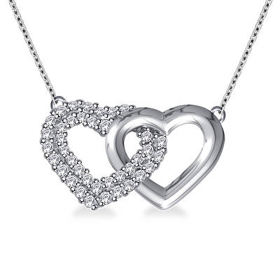 .25 ct. t.w. Linked Heart Diamond Necklace in 14K White Gold