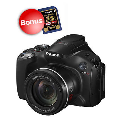 "Canon PowerShot SX40 HS 12.1MP 2.7"" LCD 35x Optical Zoom Digital Camera with Bonus 8GB SD Card"