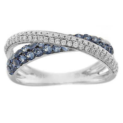.64 ct. t.w. Sapphire and .34 ct. t.w. Diamond Criss-Cross Ring in 14K White Gold