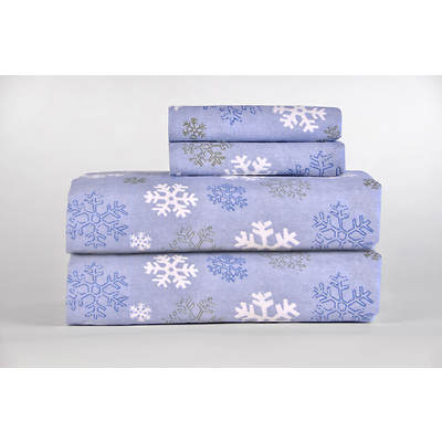 Pointehaven Printed Flannel Twin XL-Size Sheet Set - Dusty Blue
