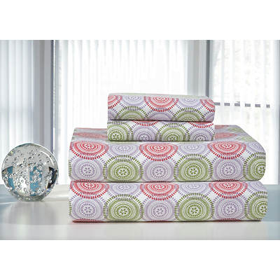 Pointehaven Printed Flannel Queen-Size Sheet Set - Green and Pink Starburst