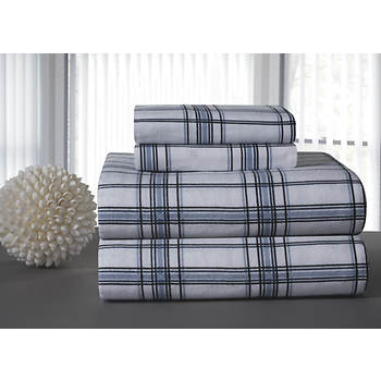 Pointehaven Printed Flannel Queen-Size Sheet Set - Blue Plaid