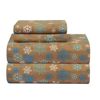Pointehaven Printed Flannel King-Size Sheet Set - Tan Snowflake