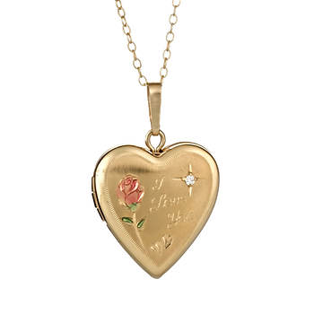 14K Yellow Gold-Plated Sterling Silver Heart Locket Pendant