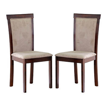 Baxton Studio Judy Microfiber Dining Chair, Set of 2 - Taupe/Dark Brown