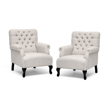 Baxton Studio Joussard Linen Club Chair, Set of 2 - Beige/Black