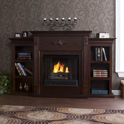 SEI Newport Ventless Gel Fuel Fireplace with Bookcases - Espresso