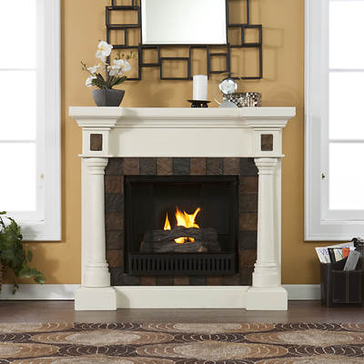 SEI Bradley Park Ventless Gel Fuel Fireplace - Ivory