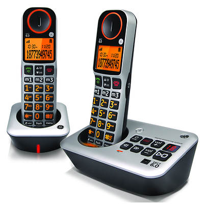 GE DECT 6.0 Dual-Handset Volume Boost Telephone with Digital Answering System (GE-30542EE2)